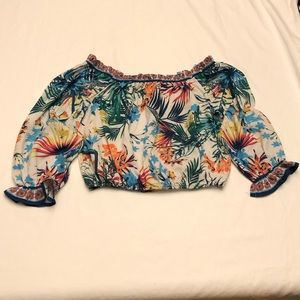 Flying tomatoes top tropical print.